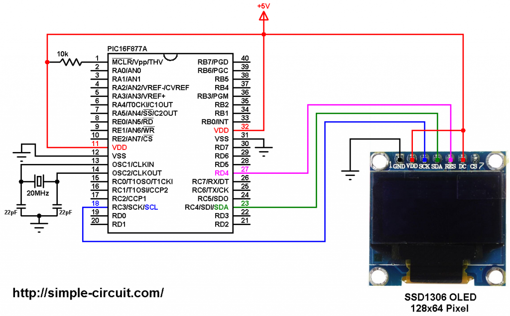 PIC16F877A SSD1306 OLED display interfacing circuit