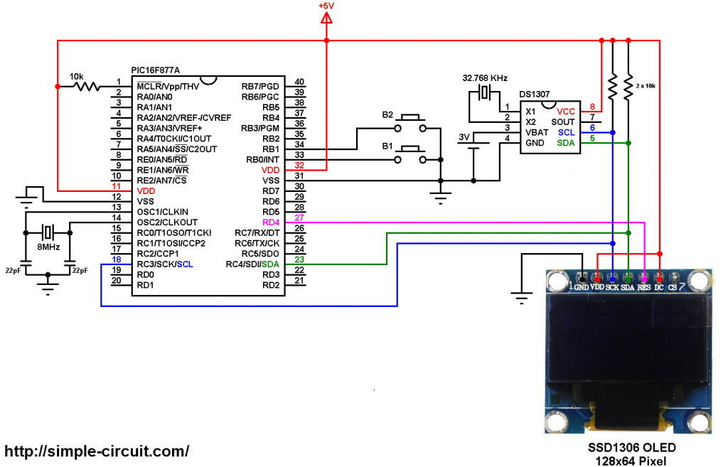 PIC16F877A DS1307 SSD1306 OLED display real time clock circuit