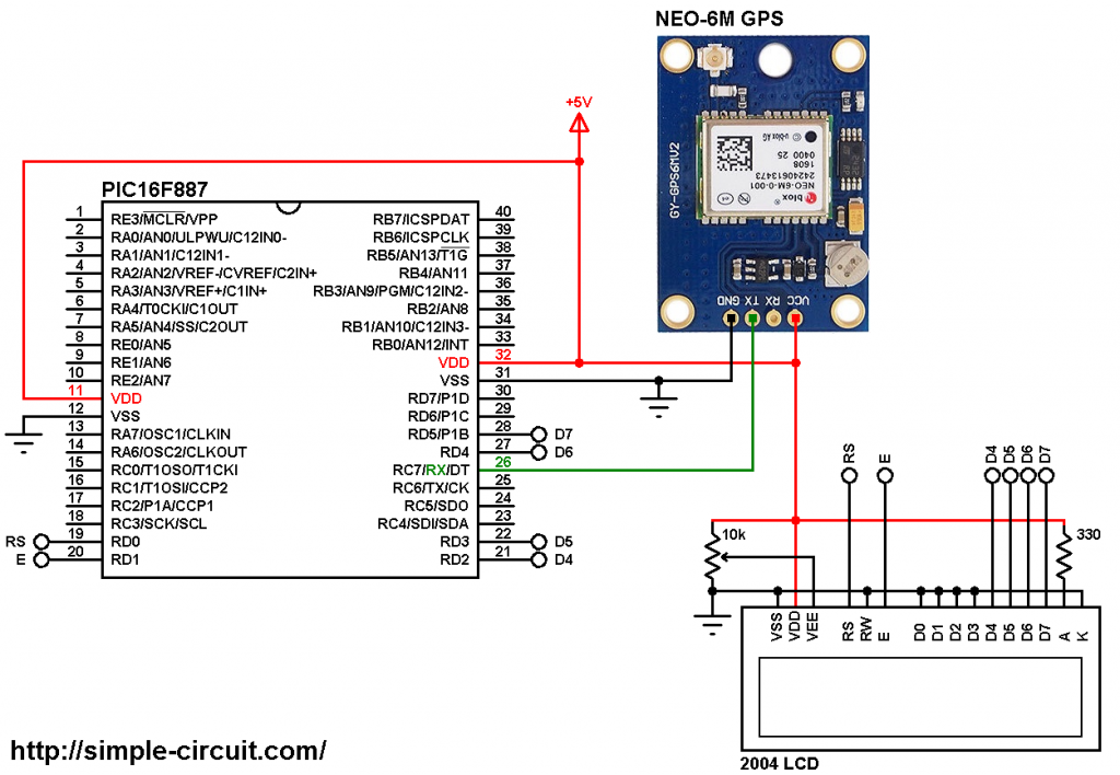 PIC16F887 GPS Clock with NEO-6M module and 20x4 LCD circuit