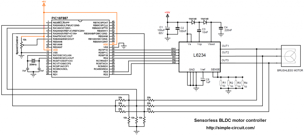 PIC16F887 L6234 brushless motor controller DIY ESC