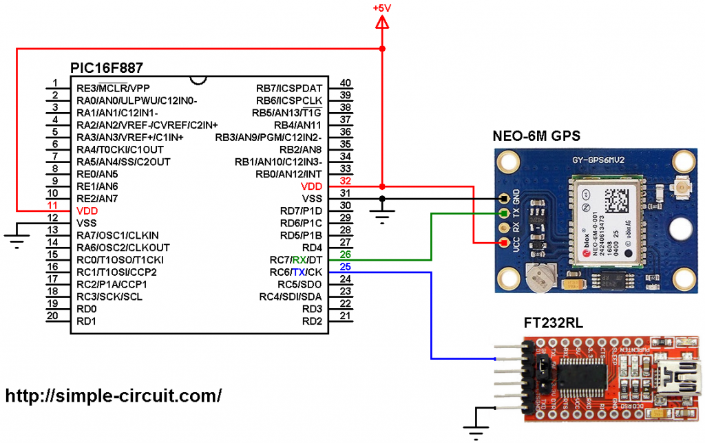 PIC16F887 NEO-6M GPS module interfacing circuit
