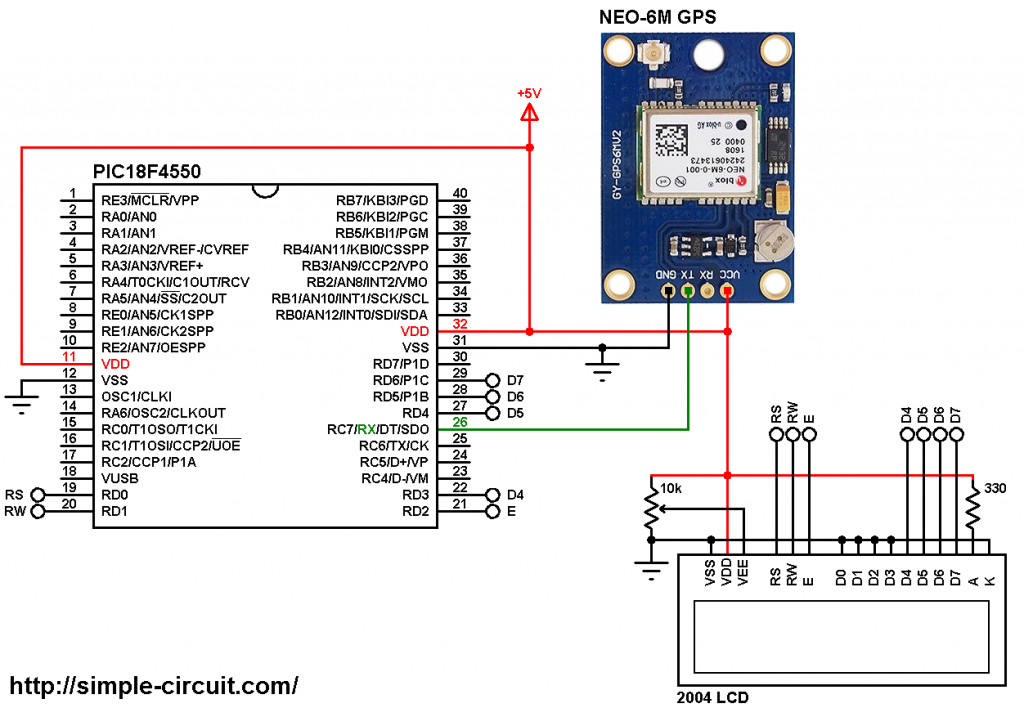 PIC18F4550 GPS Real time clock NEO-6M 20x4 LCD