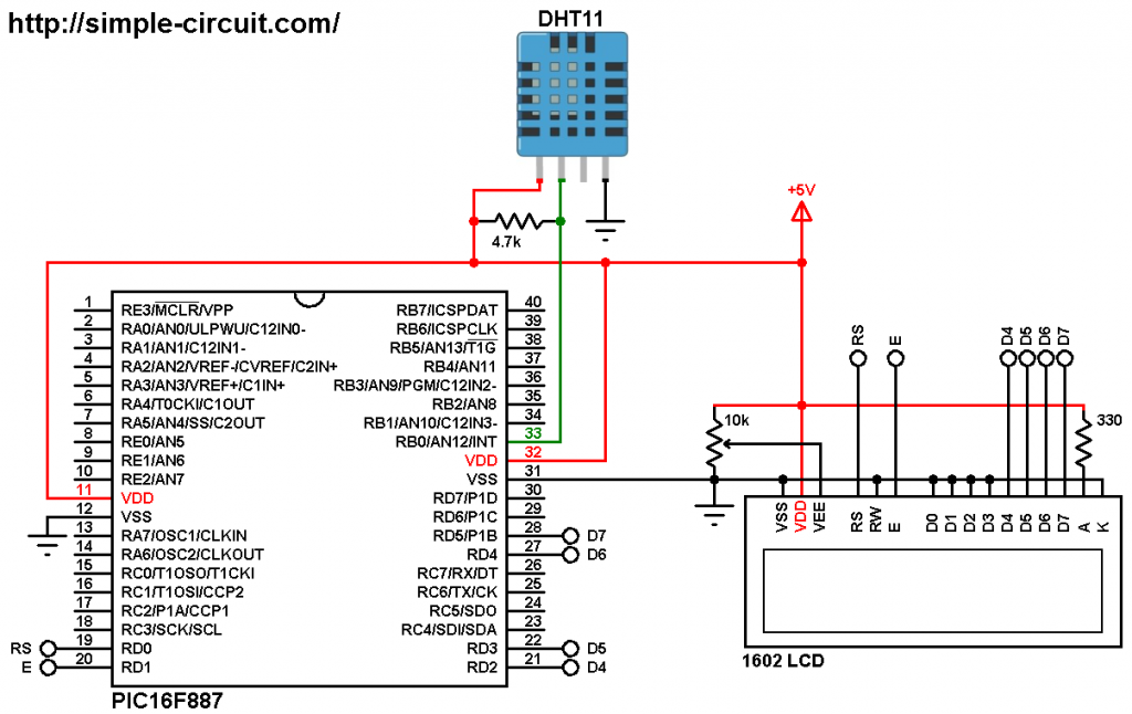 PIC microcontroller with DHT11 sensor and LCD - MPLAB XC8 DHT11