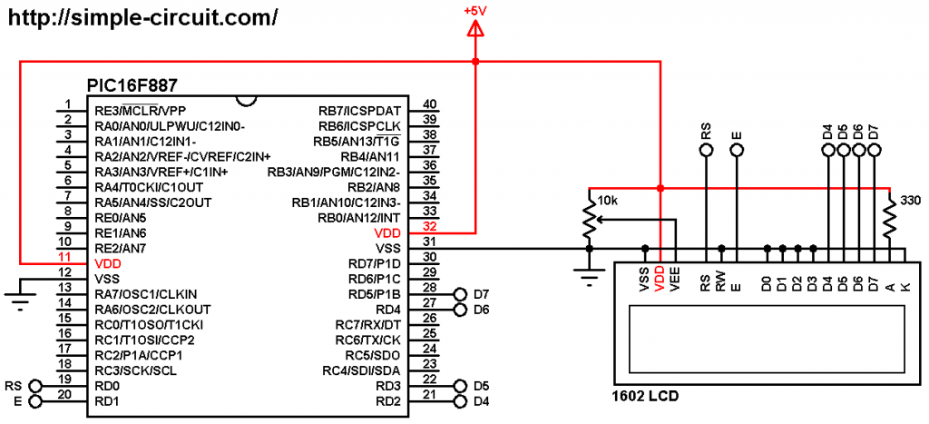 PIC microcontroller with 1602 LCD display circuit - PIC16F887 LCD