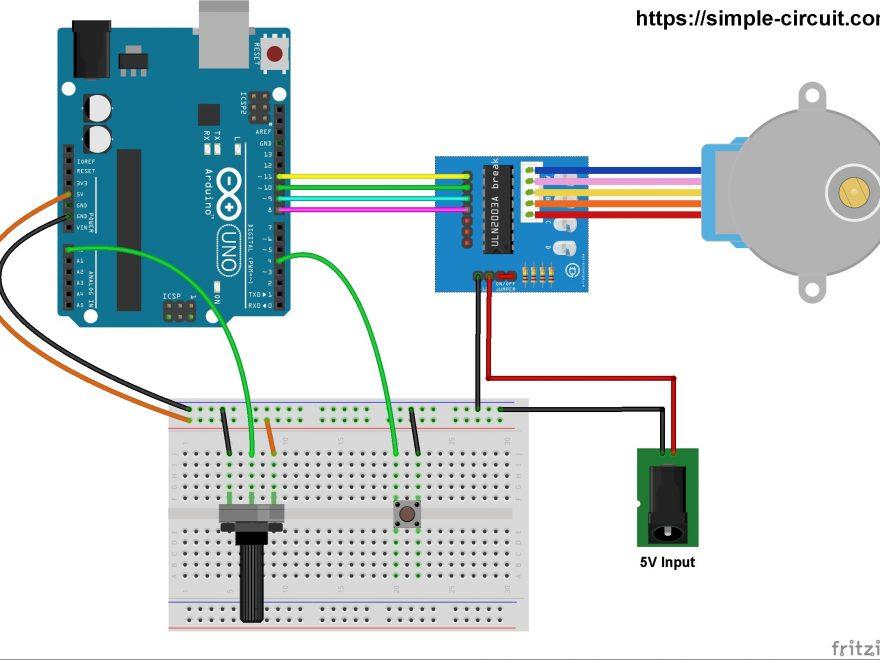 Arduino 28-BYJ48 unipolar stepper motor control circuit
