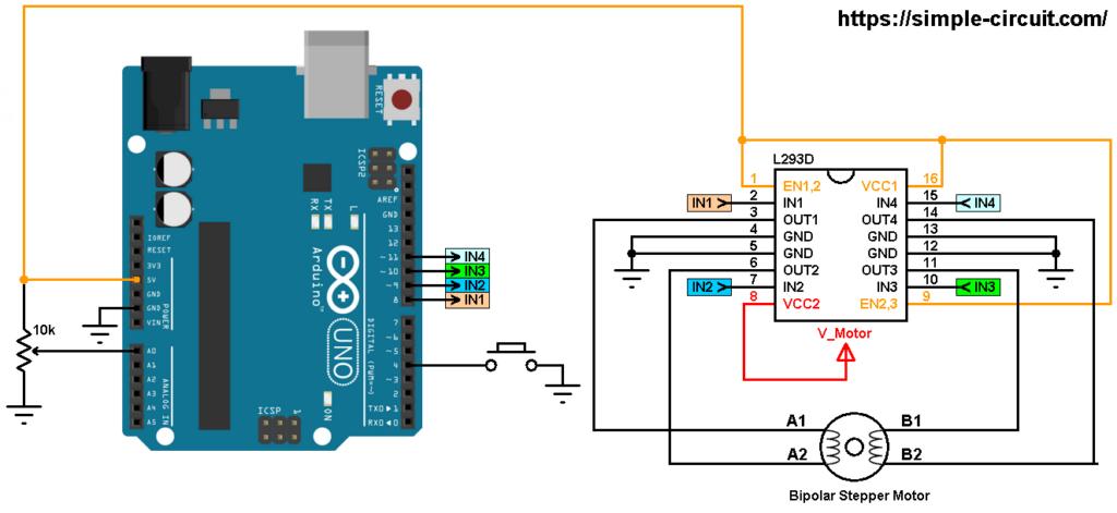 Arduino bipolar stepper motor control circuit