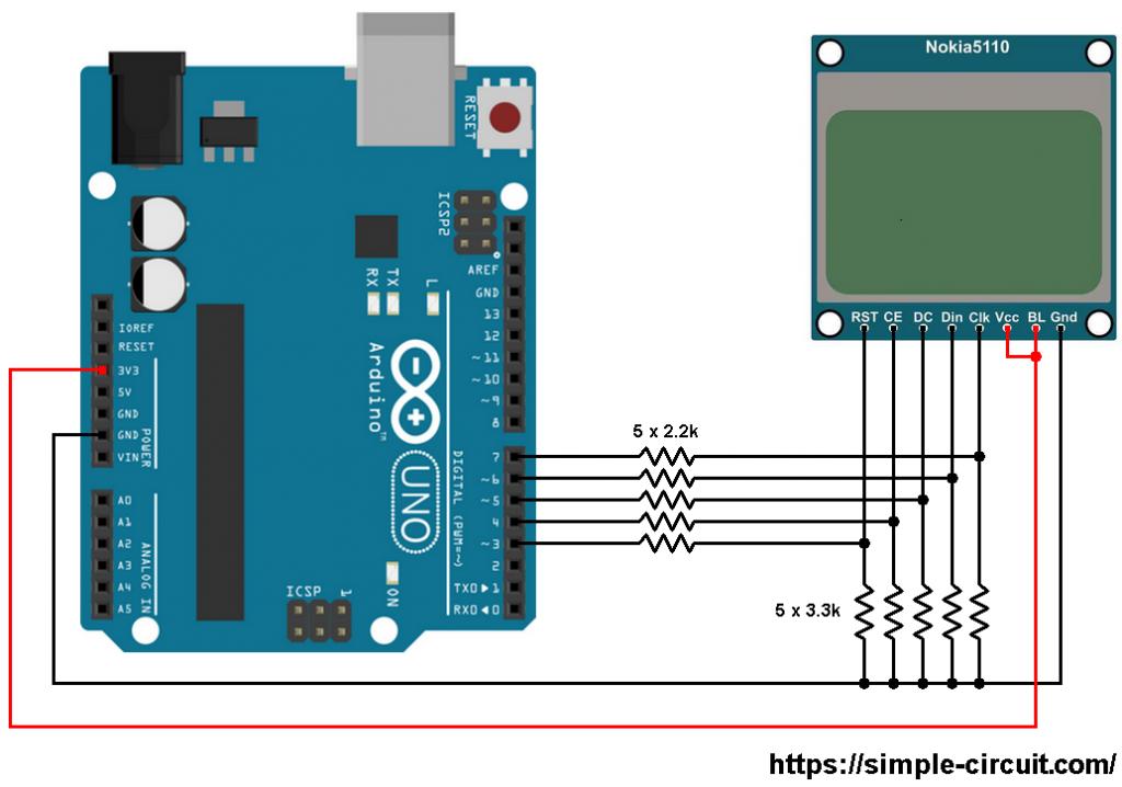 Arduino with Nokia 5110 circuit - Arduino Nokia 5110 3310