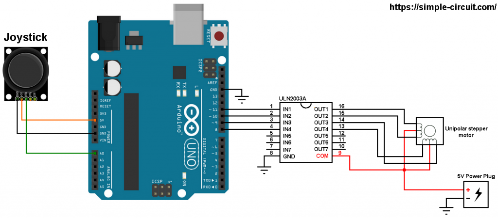 Arduino stepper motor control with joystick circuit