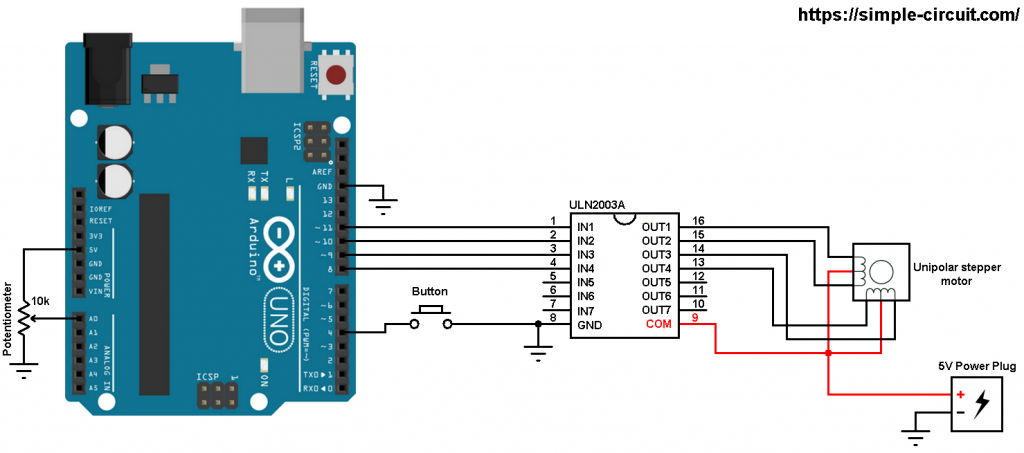 Arduino unipolar stepper motor control circuit
