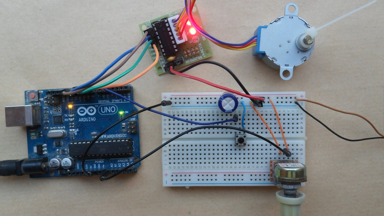 Arduino Unipolar Stepper Motor Control Simple Projects Circuit With Pic16f877 28 Byj48 Controller