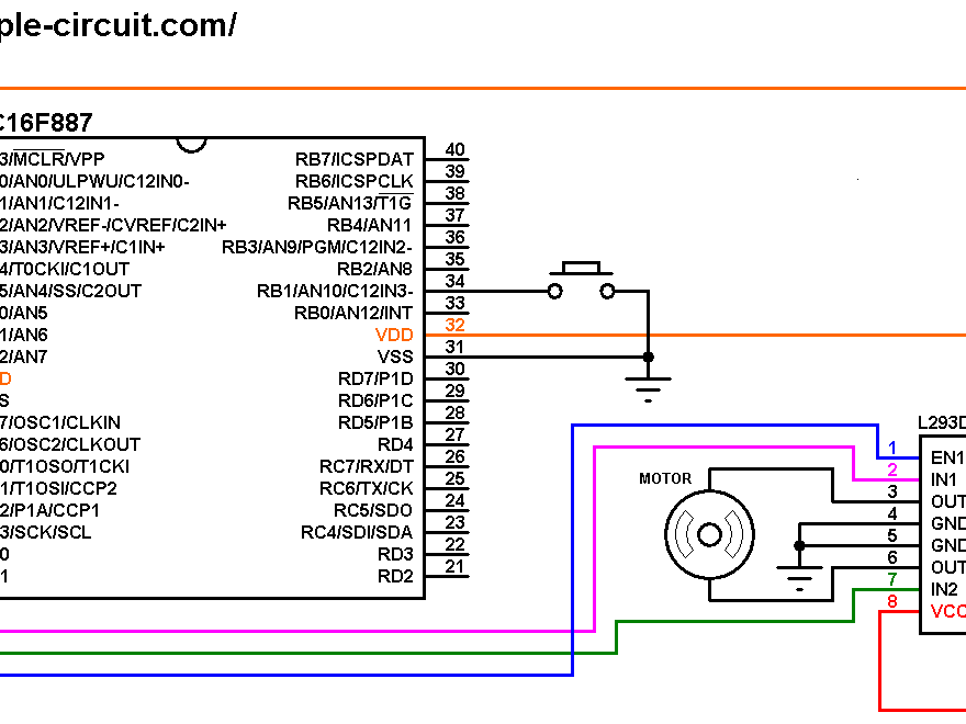 DC motor control circuit with PIC16F887 and L293D