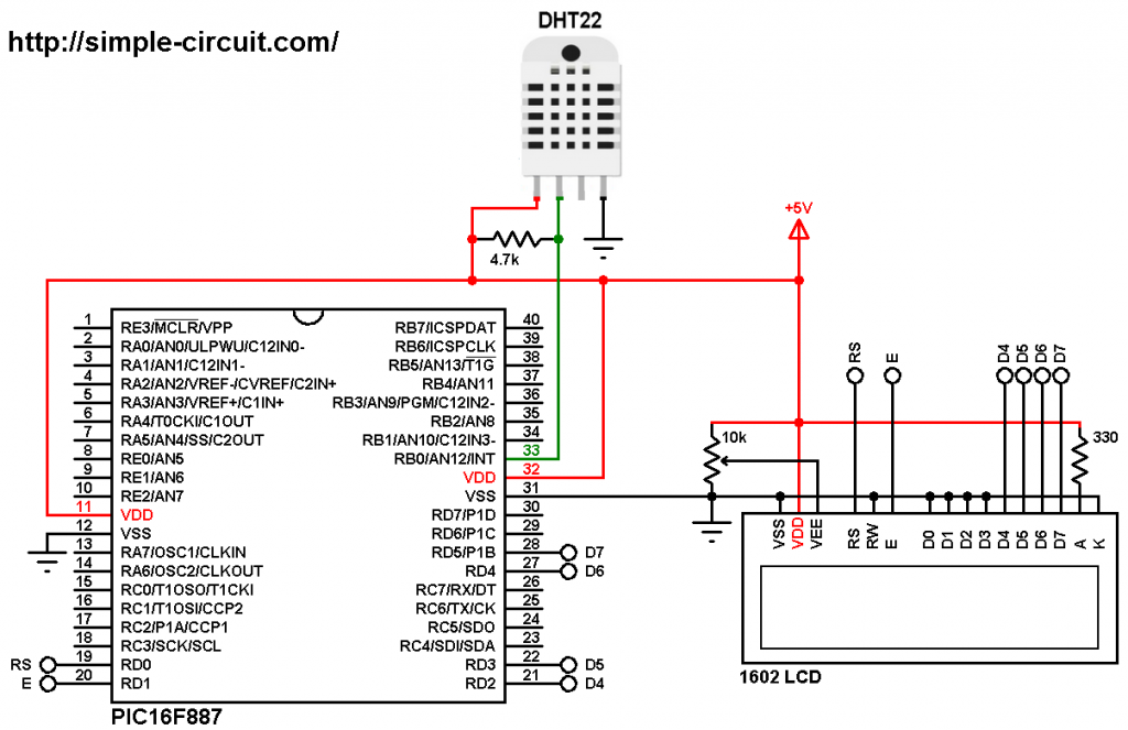 PIC microcontroller with DHT22 (AM2302) sensor and LCD - MPLAB XC8 DHT22