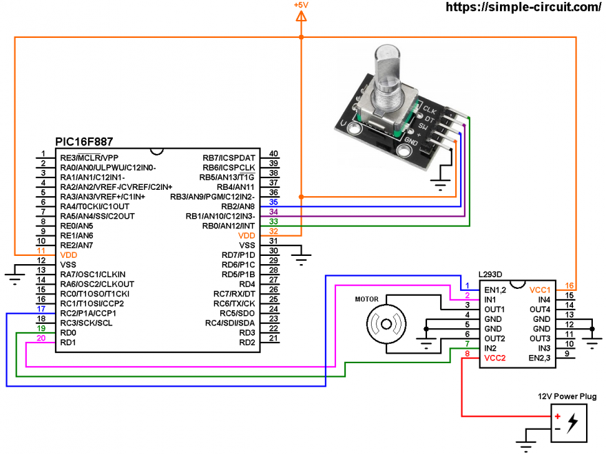 DC motor control with PIC16F887 and rotary encoder circuit