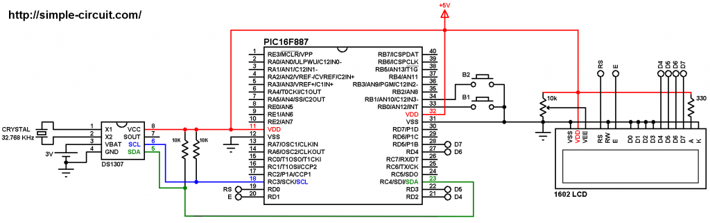 PIC microcontroller with DS1307 RTC circuit - MPLAB XC8 DS1307