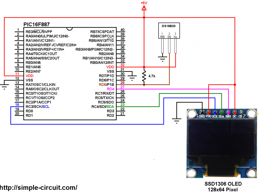PIC16F887 with DS18B20 sensor and SSD1306 OLED - DS18B20 SSD1306