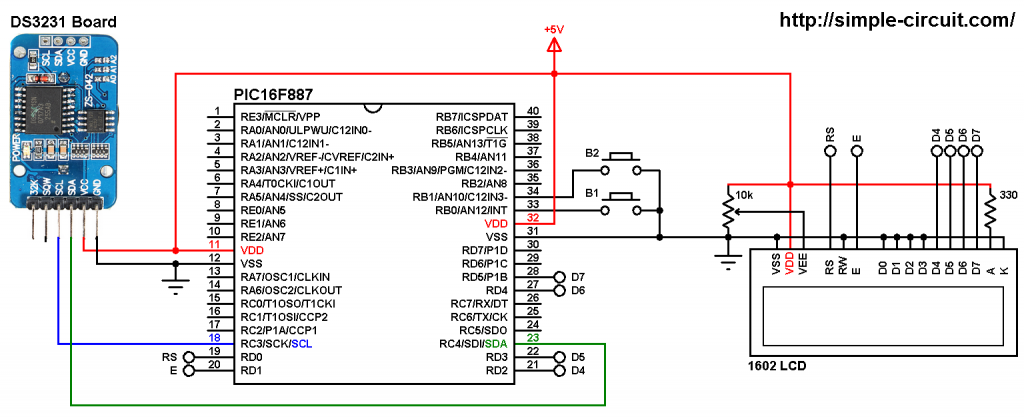 PIC microcontroller with DS3231 RTC circuit - MPLAB XC8 DS3231
