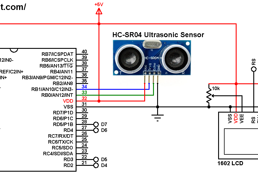 PIC16F887 with HC-SR04 ultrasonic sensor and 16x2 LCD - MPLAB XC8 HC-SR04 - mikroC HC-SR04