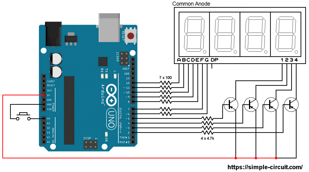 Arduino with common anode 7-segment display | Arduino 7 segment