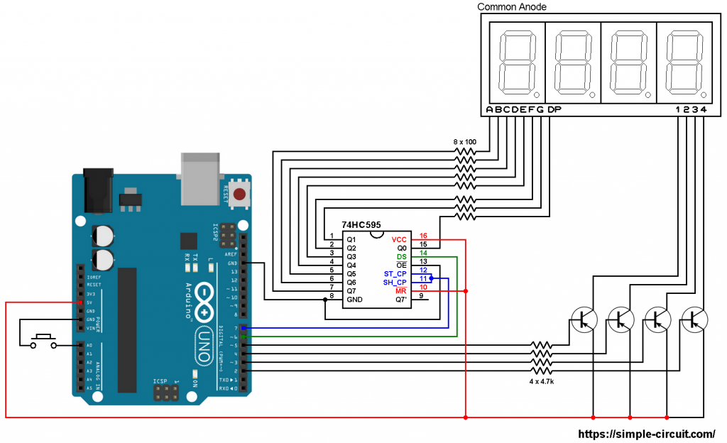 Arduino 7 segment display 74HC595 shift register
