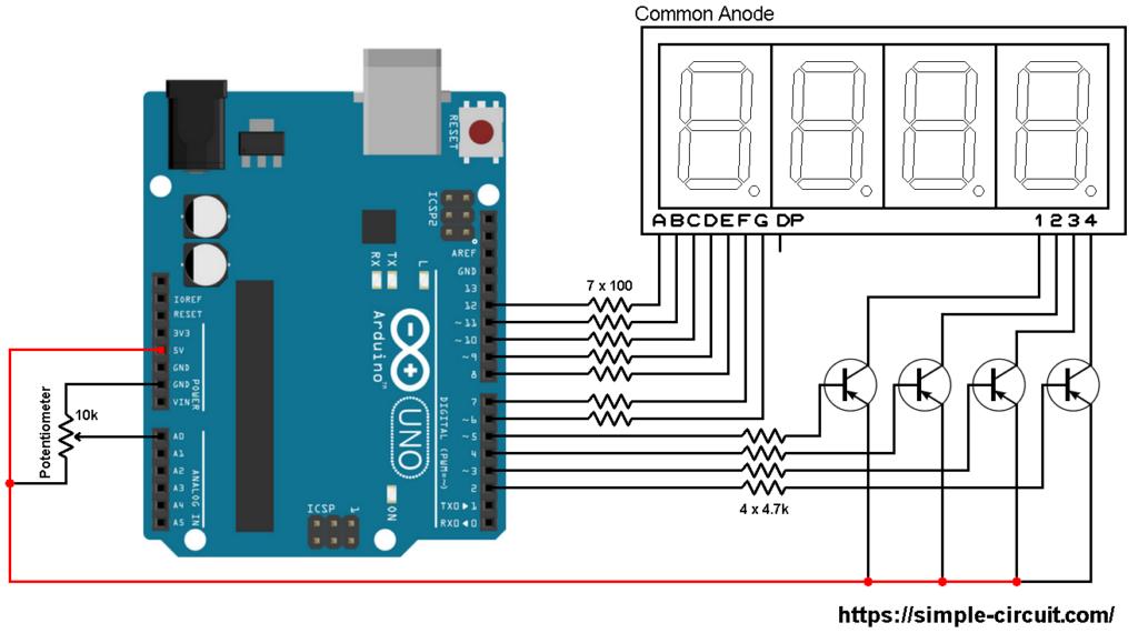 Arduino ADC 7 segment display circuit