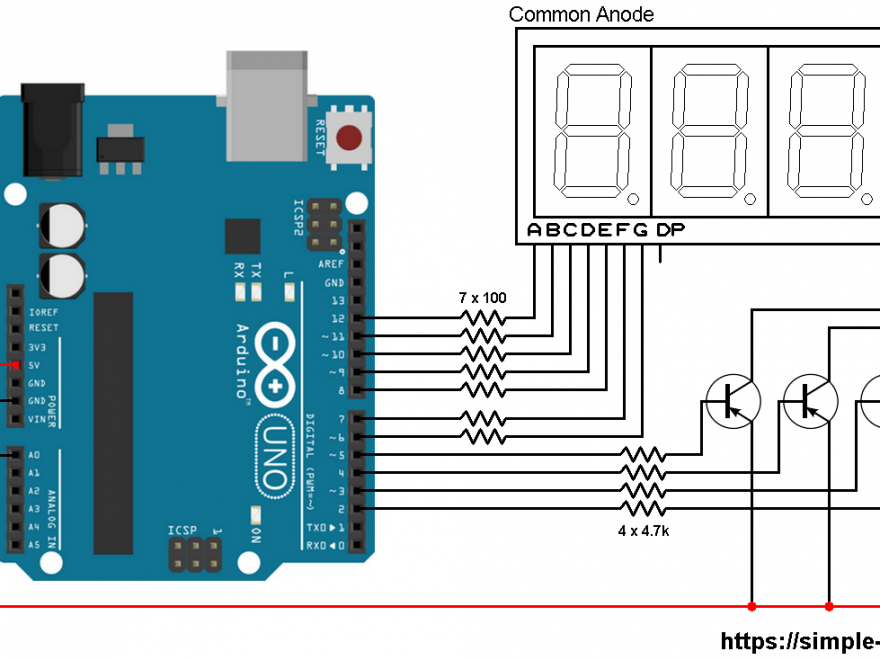 Arduino ADC 7 segment display circuit