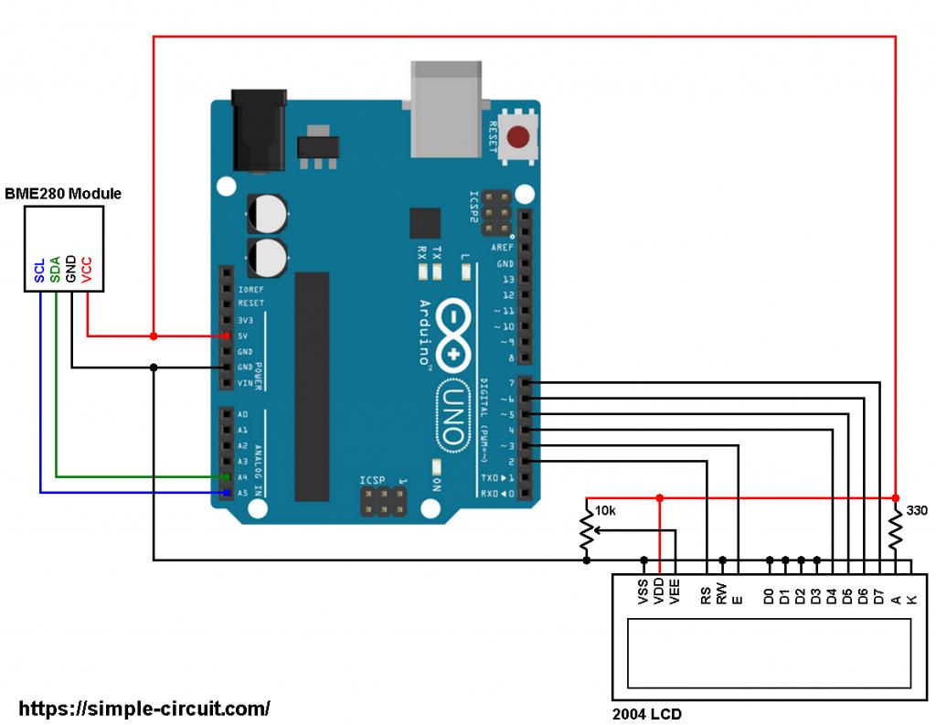 Arduino BME280 sensor 2004 LCD circuit