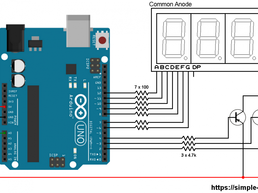 Arduino with LM335 temperature sensor and 7-segment display - LM335 7 segment