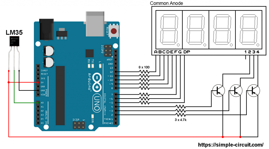 Arduino with LM35 sensor and 7-segment display - LM35 7 segment