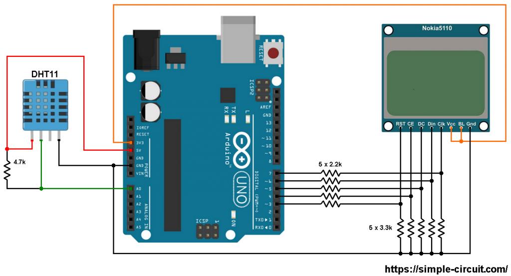 Arduino Nokia 5110 LCD DHT11 sensor circuit