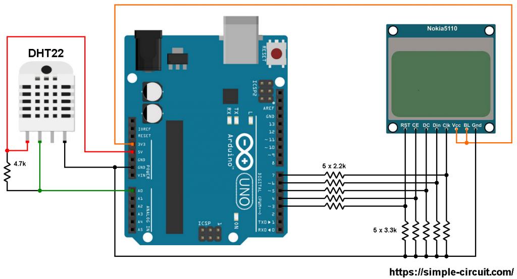 Arduino Nokia 5110 LCD DHT22 AM2302 sensor circuit