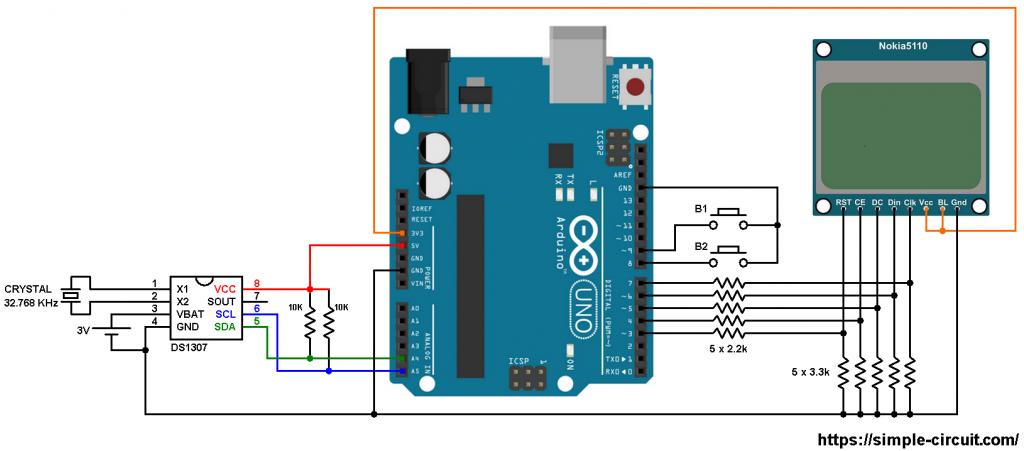 Arduino NOKIA 5110 LCD DS1307 RTC circuit