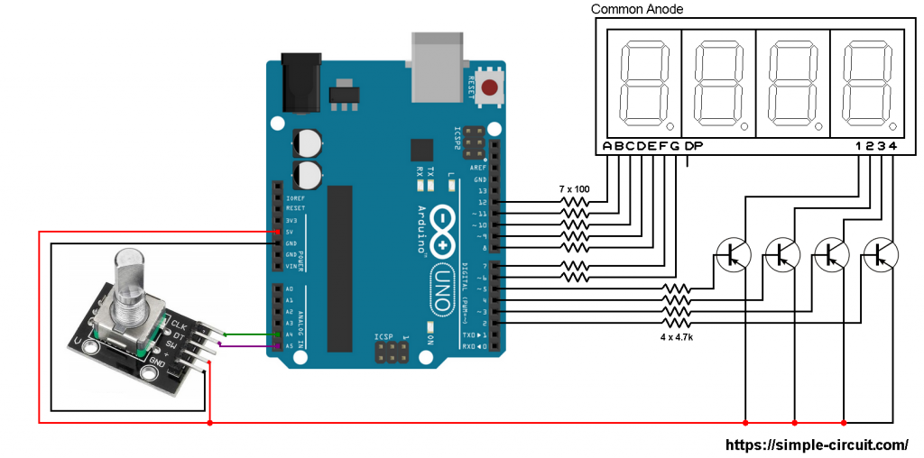 Arduino with rotary encoder and 7 segment display