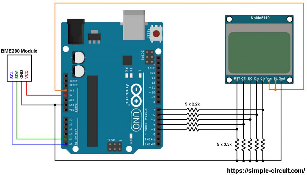 Arduino BME280 Nokia 5110 LCD