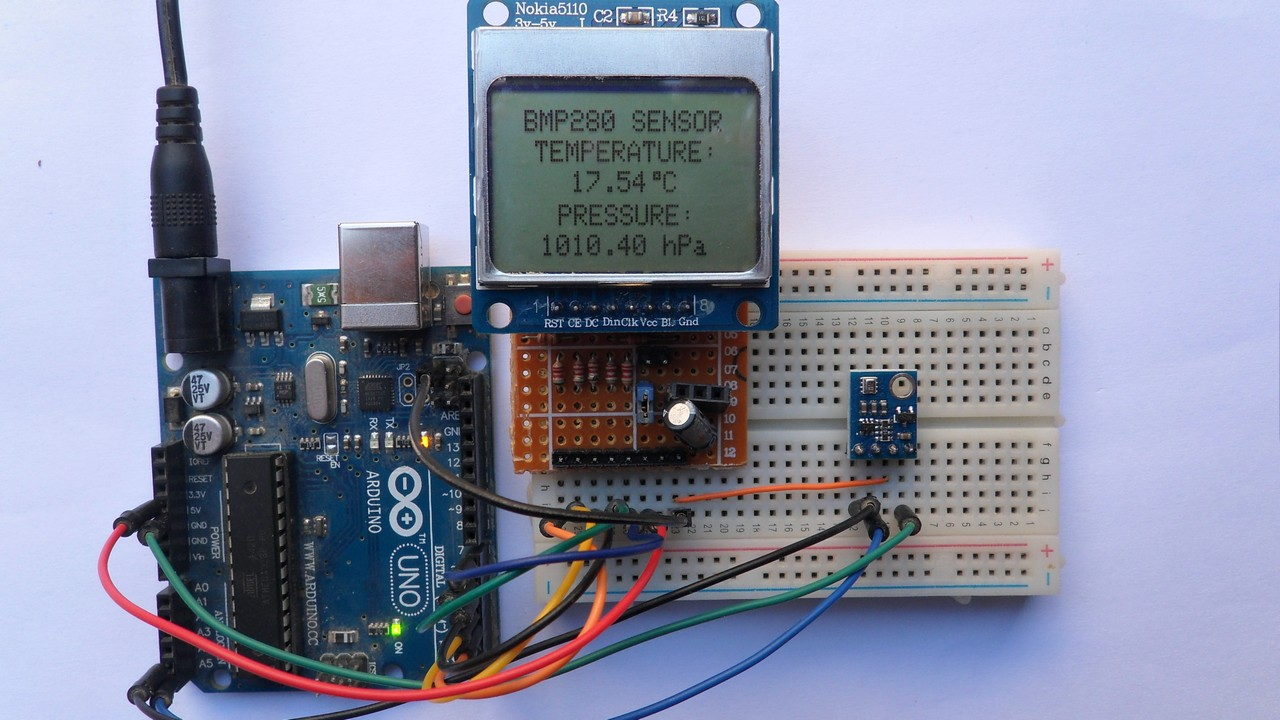 Arduino With Nokia 5110 Lcd And Bmp280 Sensor Simple Projects