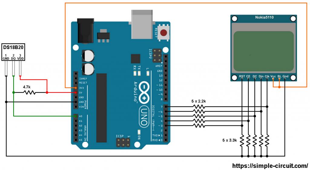 Arduino DS18B20 Nokia 5110 LCD circuit