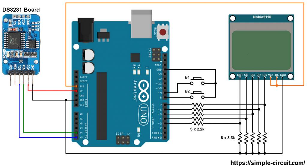 Arduino Nokia 5110 DS3231 RTC circuit