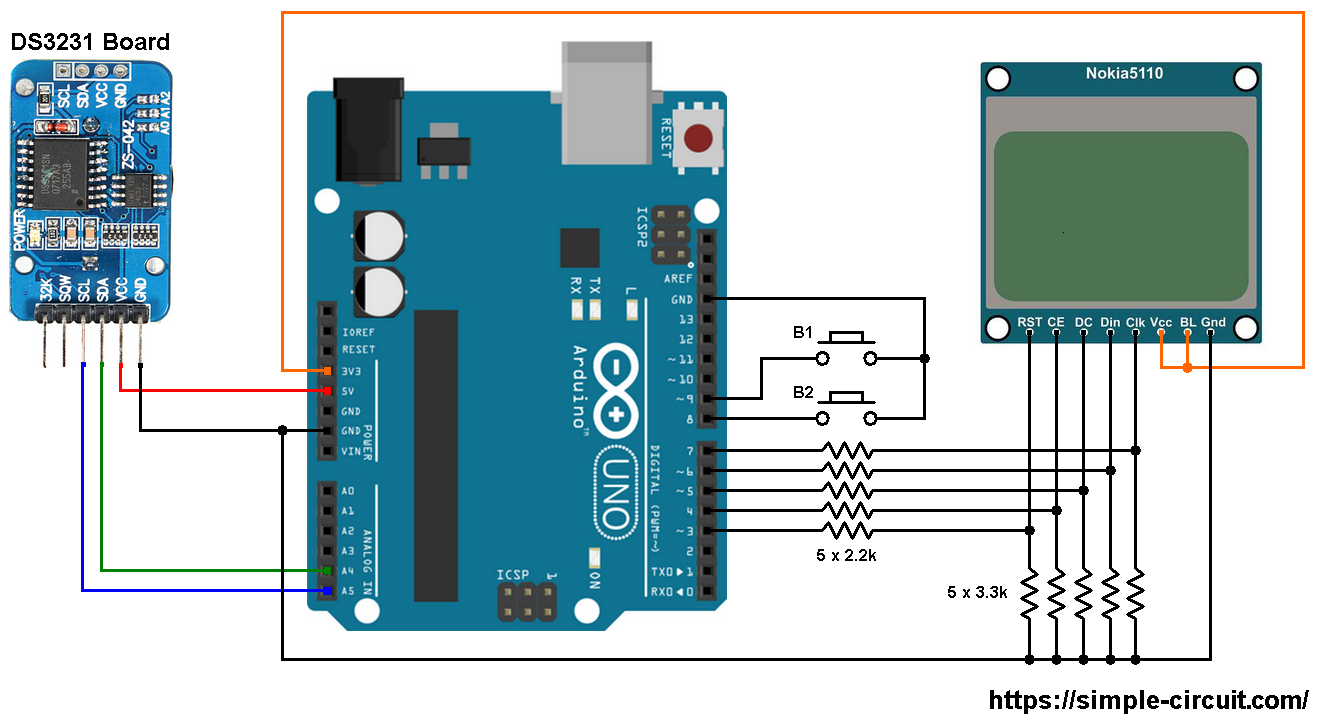 nokia x circuit diagram arduino clock and temperature monitor using ds3231 and  arduino clock and temperature monitor using ds3231 and