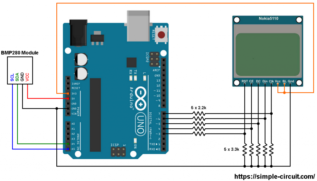 Arduino NOKIA 5110 BMP280 sensor I2C circuit