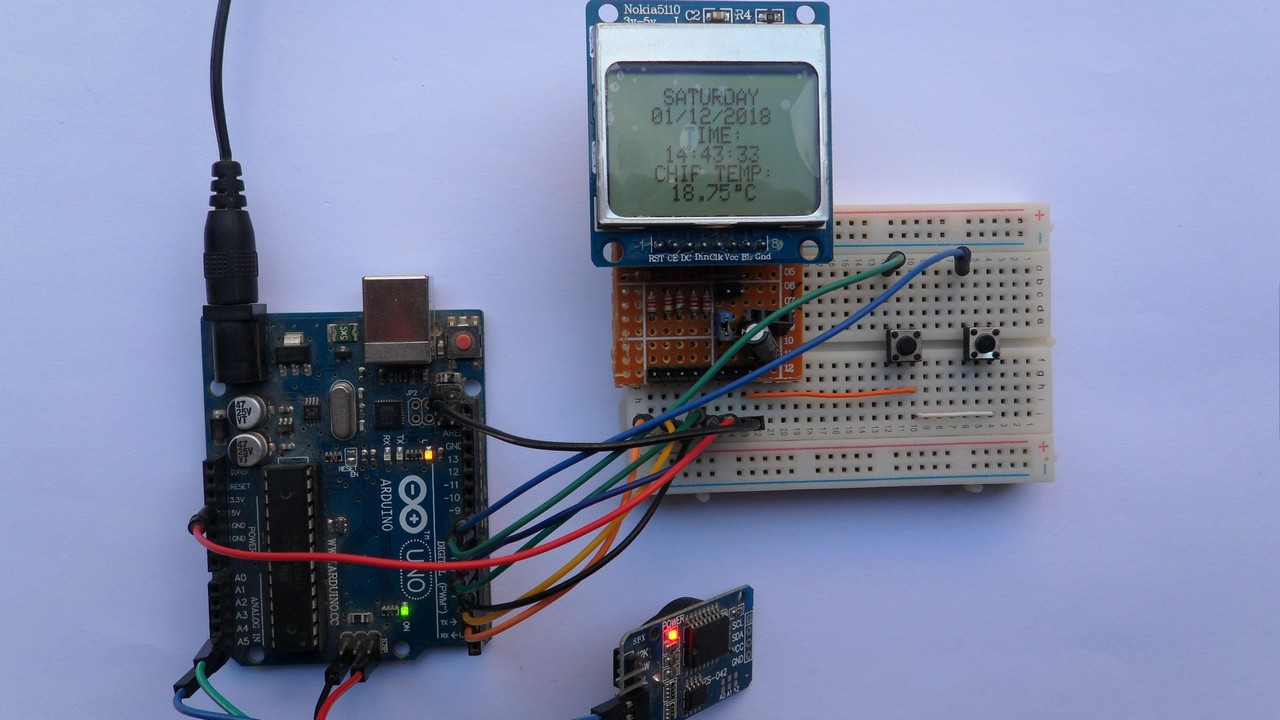Arduino clock and temperature monitor using DS3231 and Nokia 5110 LCD