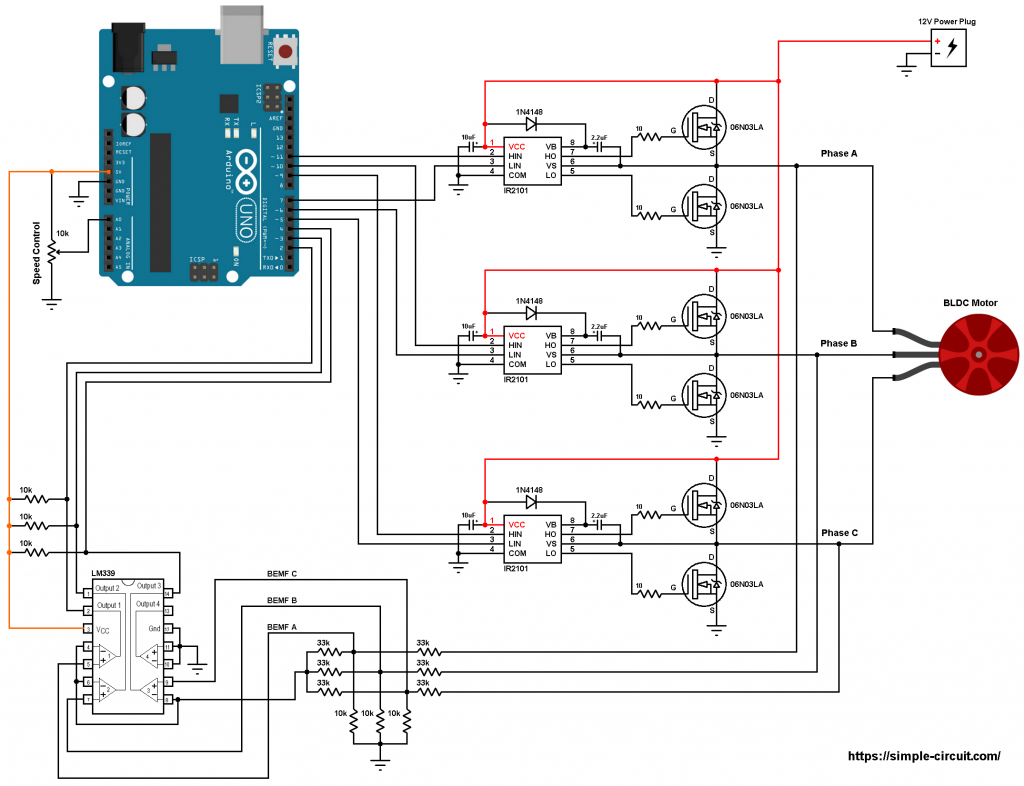Arduino brushless dc motor speed control circuit