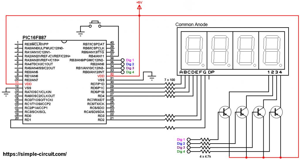 PIC16F887 7 segment display circuit