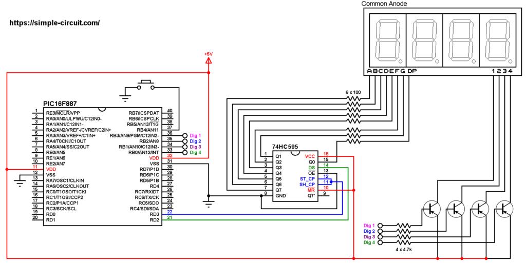 PIC16F887 7-segment display 74HC595 shift register
