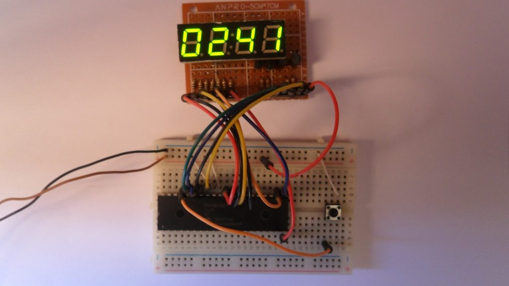 PIC16F887 with 7-segment display, 4-digit counter