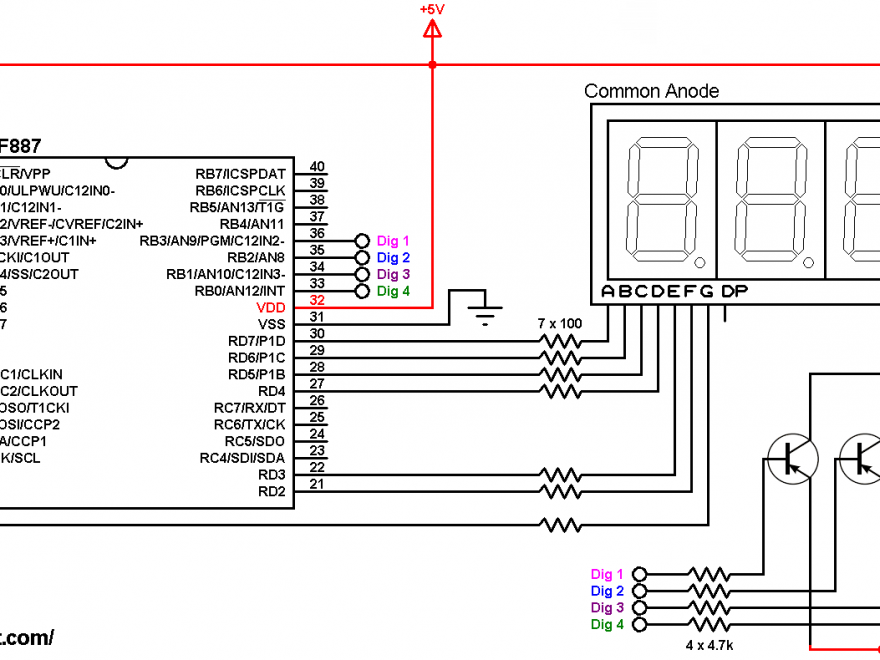 PIC16F887 ADC 7 segment display common anode circuit