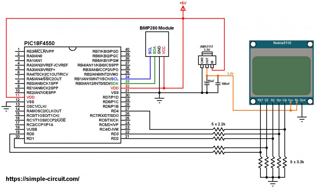 PIC18F4550 BMP280 I2C sensor Nokia 5110 LCD circuit