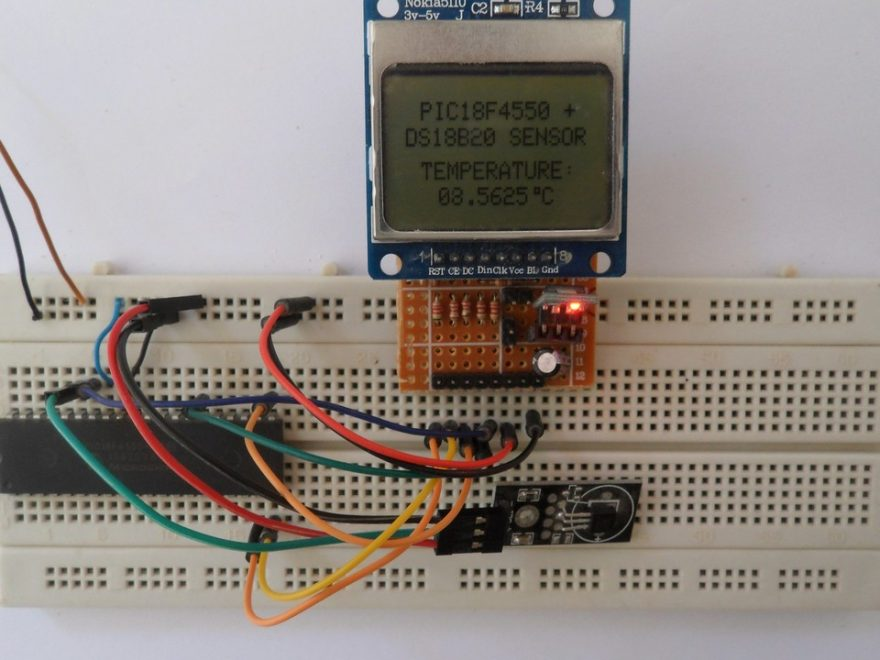 PIC18F4550 with DS18B20 temperature sensor and Nokia 5110 LCD