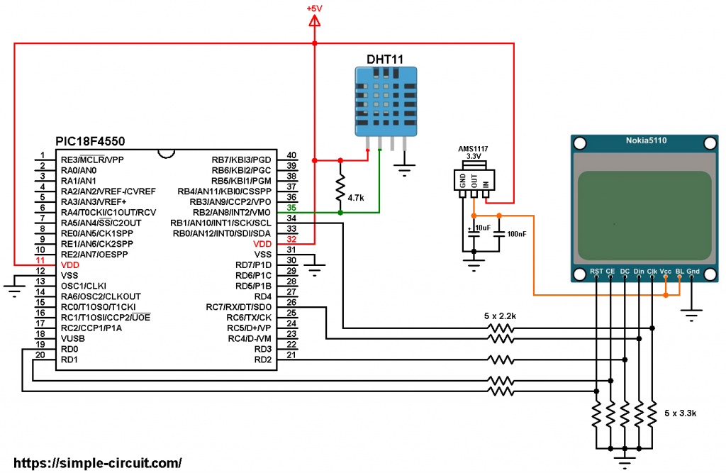 PIC18F4550 DHT11 Nokia 5110 LCD circuit