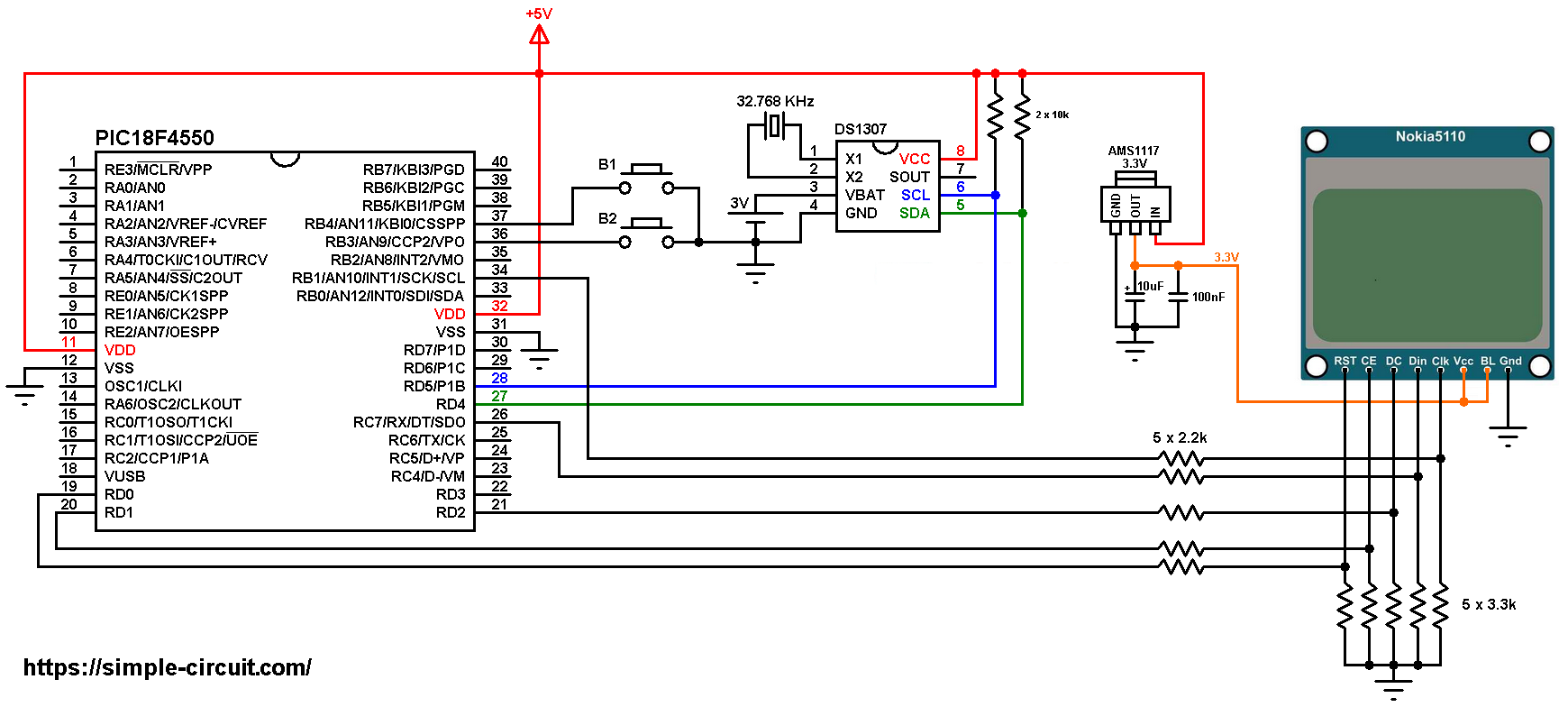 Real Time Clock using PIC18F4550, Nokia 5110 LCD and DS1307 Nokia Diagram on nokia meme, nokia c100,