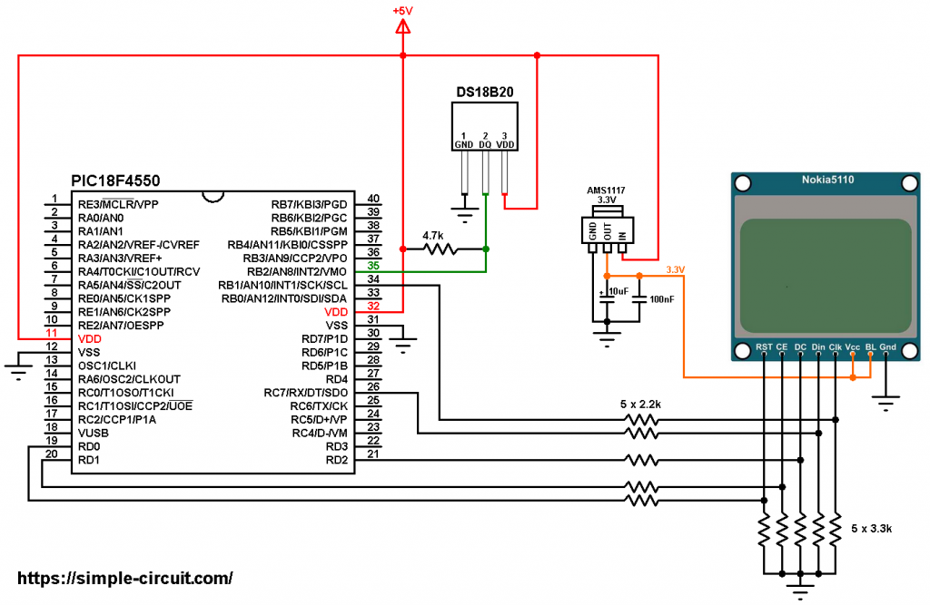 PIC18F4550 Nokia 5110 lcd DS18B20 temperature sensor circuit