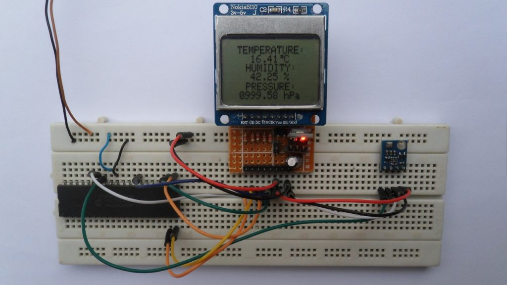 Weather station using PIC18F4550, BME280 and Nokia 5110 LCD